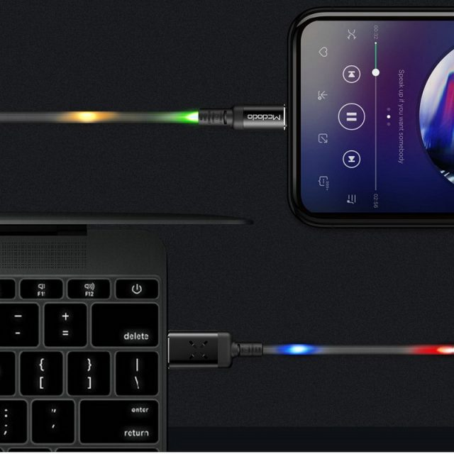 MCDODO Volume Control Dancing LED USB Cable Fast Charging Cable Mobile Phone Charger Cable For iPhone Apple X XS MAX 8 6 6s plus