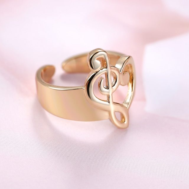 Fashion Gold Color Hollow Heart Shaped Musical Note Open Ring Adjustable For Women Lover Music Infinity Valentine's Day Jewelry